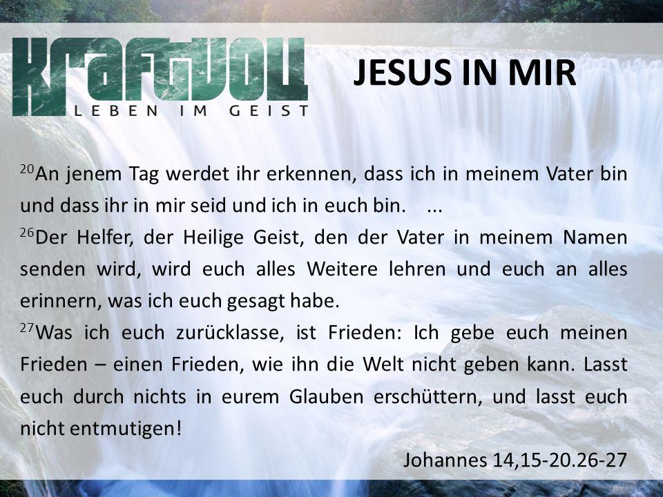 JESUS IN MIR 20 An jenem Tag werdet ihr erkennen, dass ich in meinem Vater bin und dass ihr in mir seid und ich in euch bin....