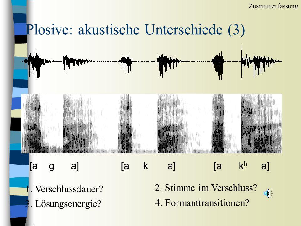Plosive: akustische Unterschiede (2) [a d a][a t a ] [ a t h a] 1.