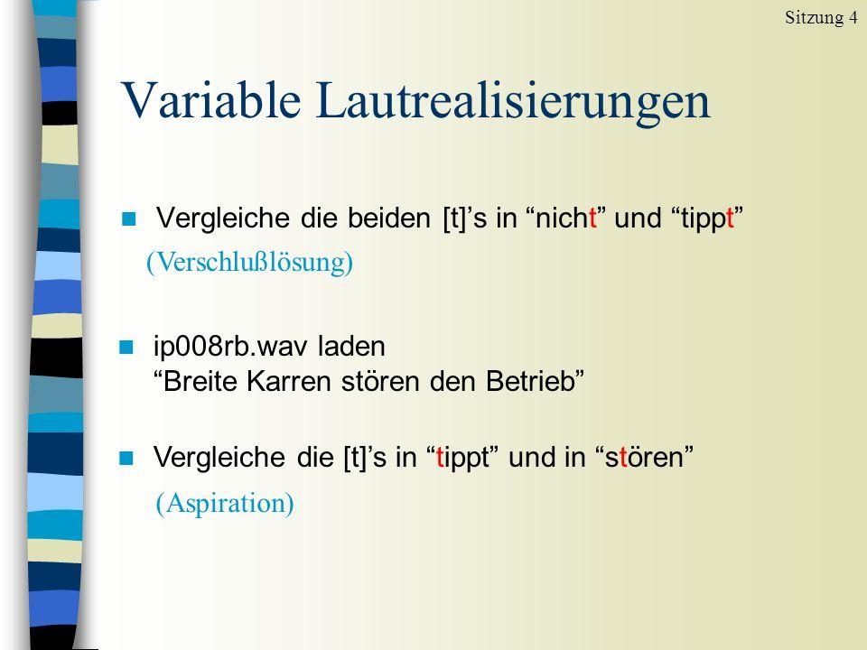 Plosive: akustische Unterschiede (3) [a g a][a k a][a k h a] 1.