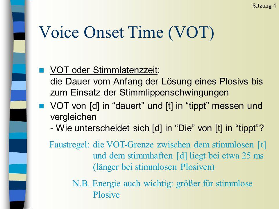 Phonetische Dauermessungen n ip006rb.wav laden Die Lallphase dauert nicht lange ip001rb.wav laden Peter tippt auf die Kieler - Wie unterscheidet sich [d] in Die von [t] in tippt .