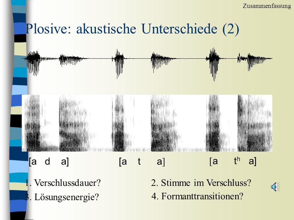 Plosive: akustische Unterschiede [a b a][a p a][a p h a] 1.