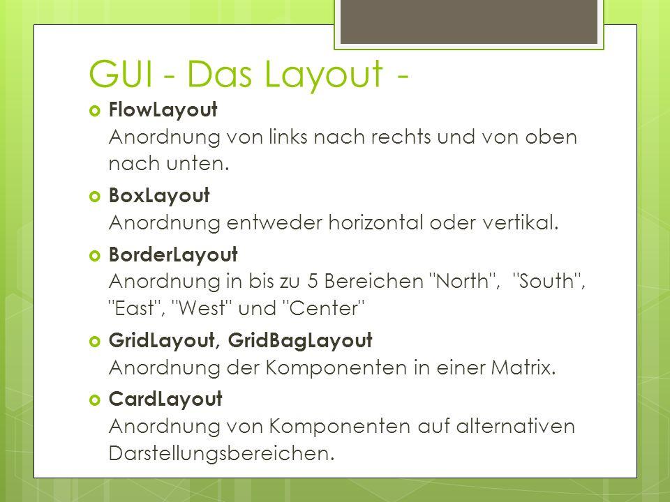 GUI - Das Layout -  FlowLayout Anordnung von links nach rechts und von oben nach unten.  BoxLayout Anordnung entweder horizontal oder vertikal.  Bo