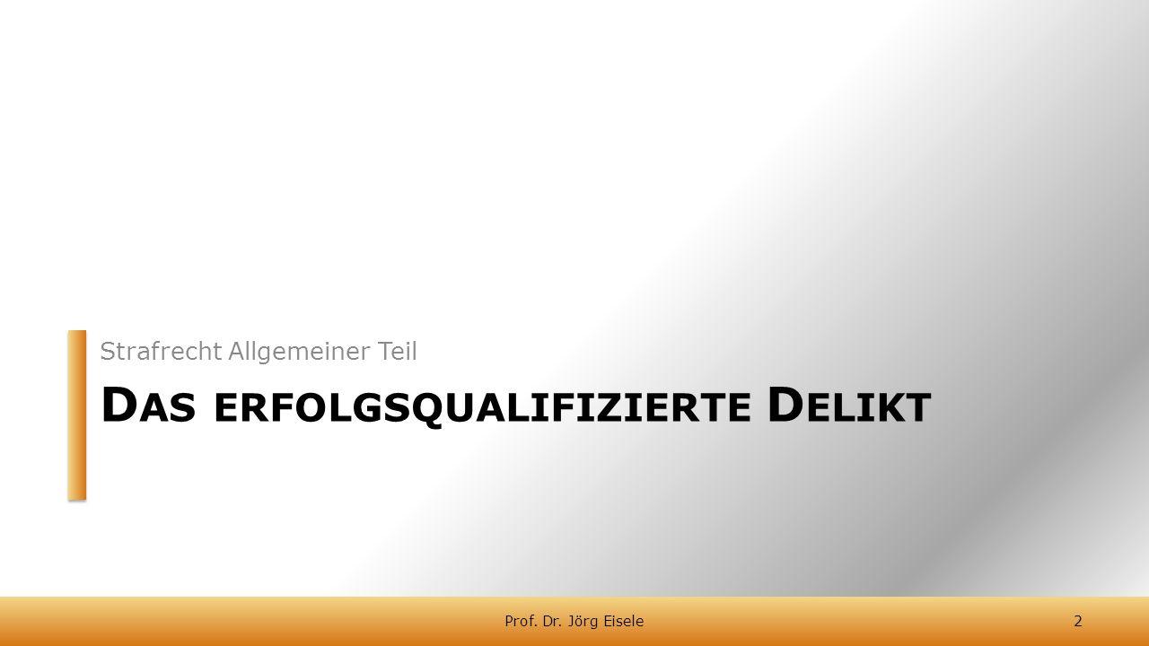 D AS ERFOLGSQUALIFIZIERTE D ELIKT Strafrecht Allgemeiner Teil 2Prof. Dr. Jörg Eisele