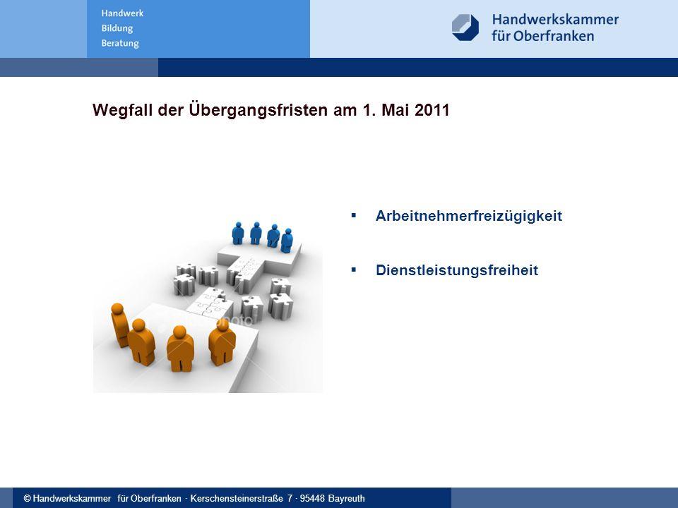 © Handwerkskammer Musterstadt, Musterstraße 123, 12345 Musterstadt© Handwerkskammer für Oberfranken · Kerschensteinerstraße 7 · 95448 Bayreuth Wegfall der Übergangsfristen am 1.