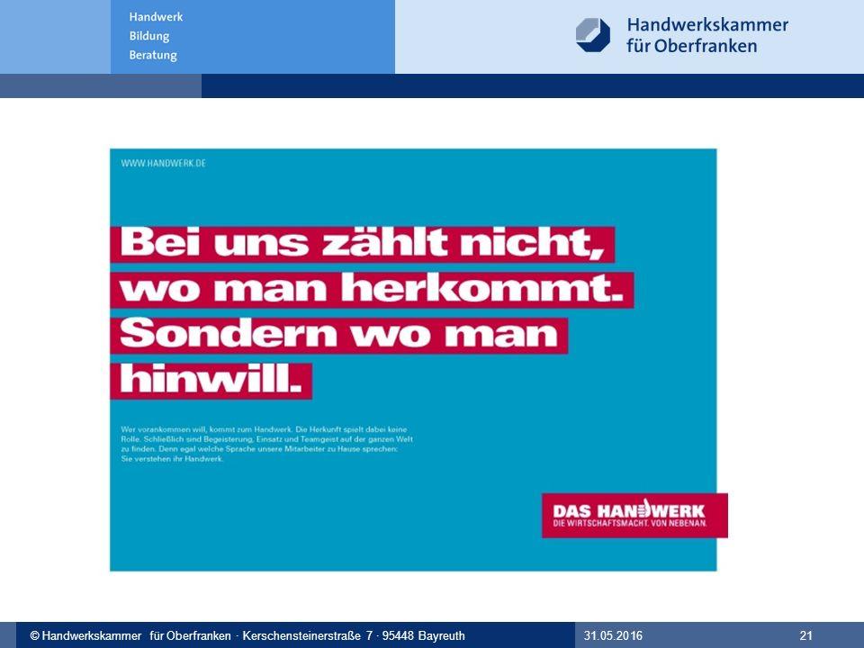 © Handwerkskammer Musterstadt, Musterstraße 123, 12345 Musterstadt© Handwerkskammer für Oberfranken · Kerschensteinerstraße 7 · 95448 Bayreuth 31.05.2016 21