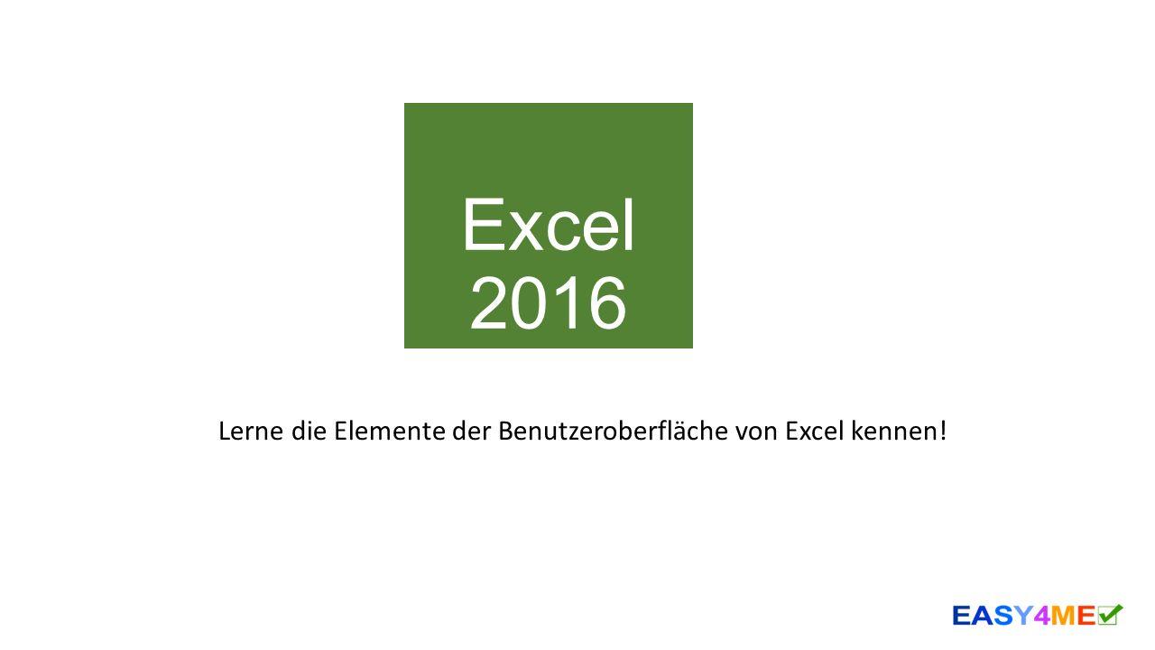 Excel 2016 Lerne die Elemente der Benutzeroberfläche von Excel kennen!