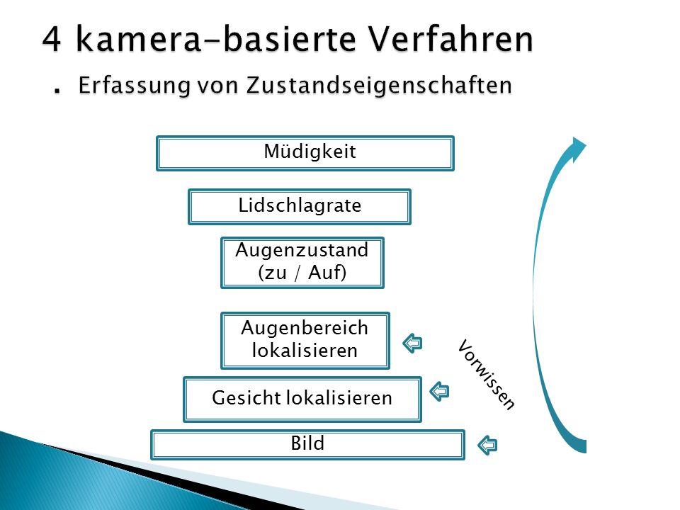 Müdigkeit Lidschlagrate Augenzustand (zu / Auf) Augenbereich lokalisieren Gesicht lokalisieren Bild Vorwissen