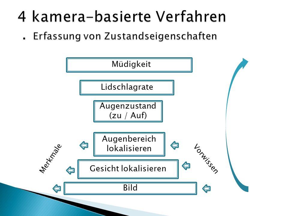 Müdigkeit Lidschlagrate Augenzustand (zu / Auf) Augenbereich lokalisieren Gesicht lokalisieren Bild Vorwissen Merkmale