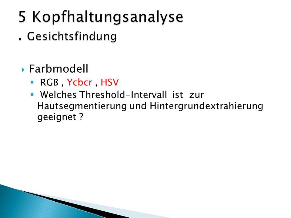  Farbmodell  RGB, Ycbcr, HSV  Welches Threshold-Intervall ist zur Hautsegmentierung und Hintergrundextrahierung geeignet
