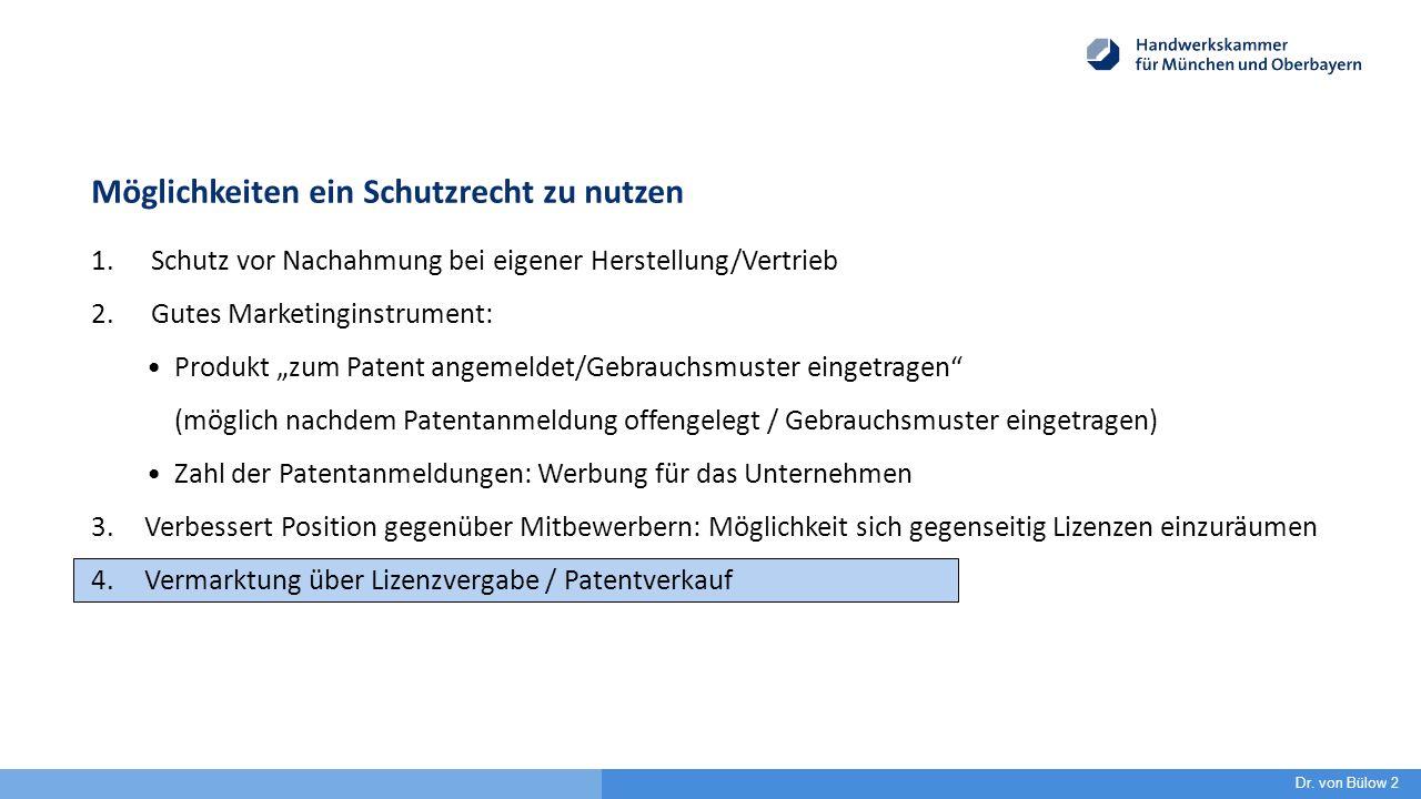 """Möglichkeiten ein Schutzrecht zu nutzen 1. Schutz vor Nachahmung bei eigener Herstellung/Vertrieb 2. Gutes Marketinginstrument: Produkt """"zum Patent an"""