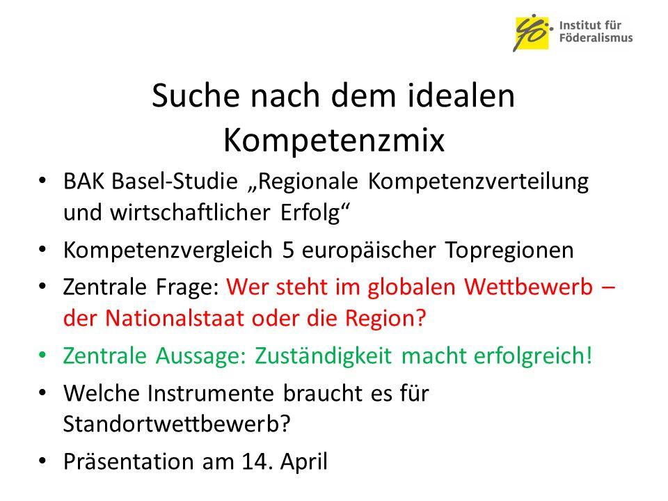 """Suche nach dem idealen Kompetenzmix BAK Basel-Studie """"Regionale Kompetenzverteilung und wirtschaftlicher Erfolg Kompetenzvergleich 5 europäischer Topregionen Zentrale Frage: Wer steht im globalen Wettbewerb – der Nationalstaat oder die Region."""