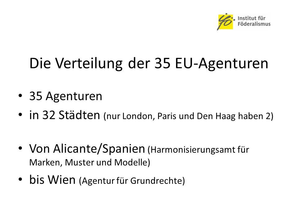 Die Verteilung der 35 EU-Agenturen 35 Agenturen in 32 Städten (nur London, Paris und Den Haag haben 2) Von Alicante/Spanien (Harmonisierungsamt für Marken, Muster und Modelle) bis Wien (Agentur für Grundrechte)