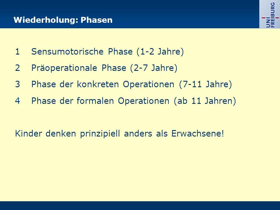 Wiederholung: Phasen 1Sensumotorische Phase (1-2 Jahre) 2Präoperationale Phase (2-7 Jahre) 3Phase der konkreten Operationen (7-11 Jahre) 4Phase der formalen Operationen (ab 11 Jahren) Kinder denken prinzipiell anders als Erwachsene!