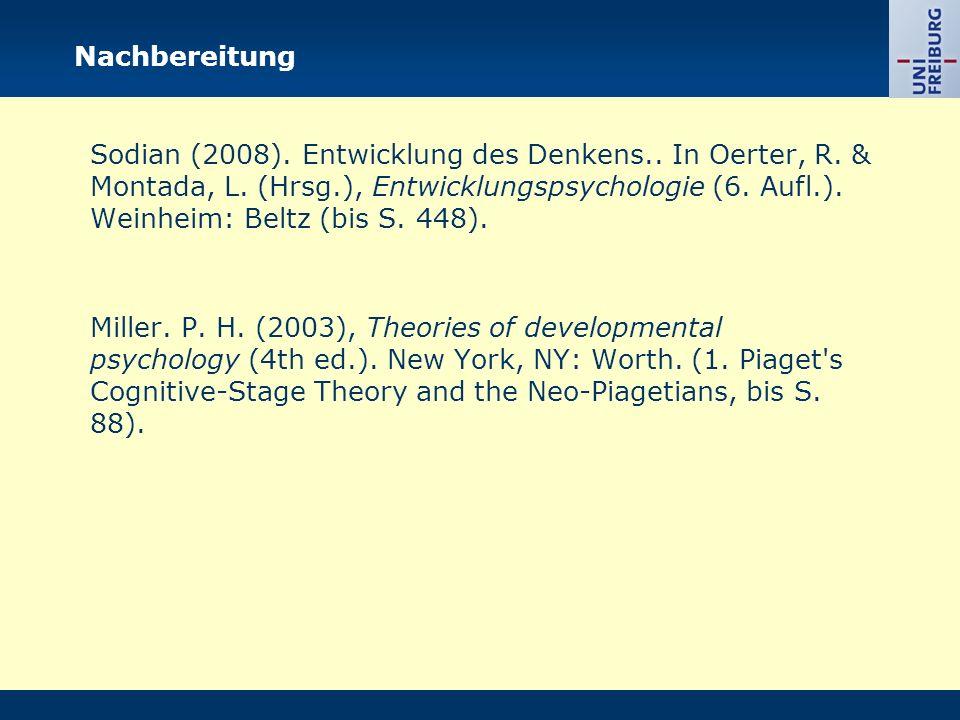Nachbereitung Sodian (2008). Entwicklung des Denkens..