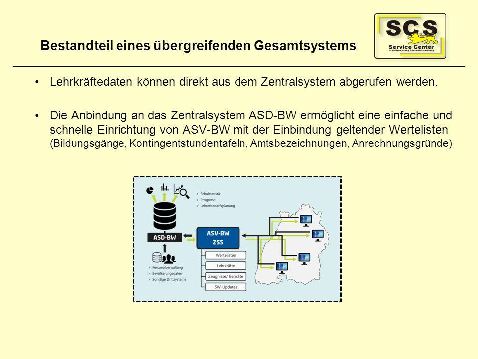Bestandteil eines übergreifenden Gesamtsystems Lehrkräftedaten können direkt aus dem Zentralsystem abgerufen werden. Die Anbindung an das Zentralsyste