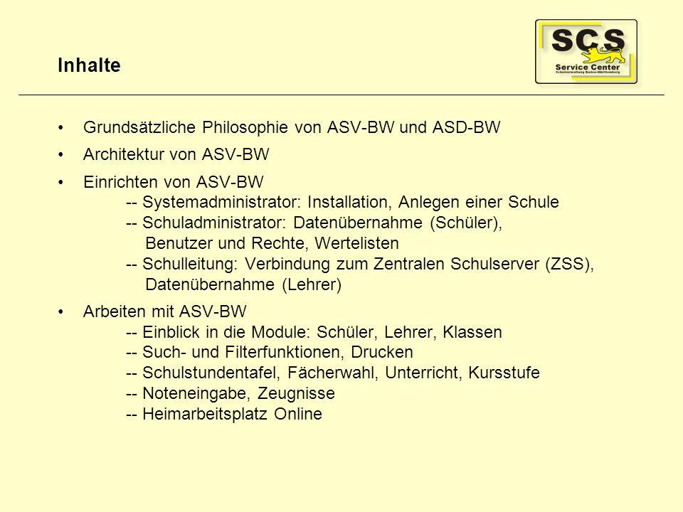 Inhalte Grundsätzliche Philosophie von ASV-BW und ASD-BW Architektur von ASV-BW Einrichten von ASV-BW -- Systemadministrator: Installation, Anlegen ei