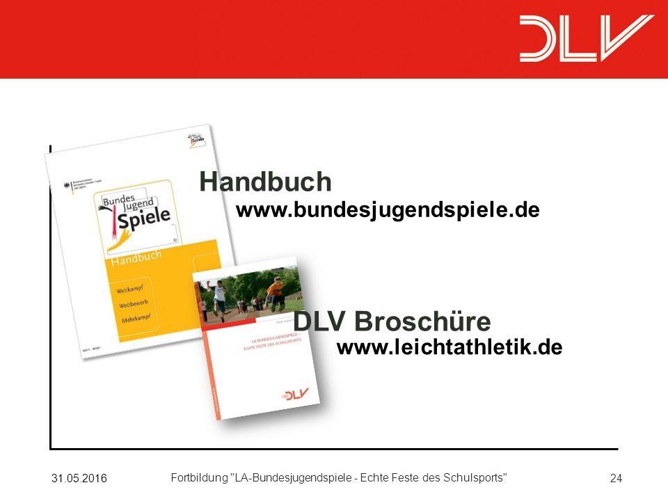 2431.05.2016 Fortbildung LA-Bundesjugendspiele - Echte Feste des Schulsports www.bundesjugendspiele.de www.leichtathletik.de DLV Broschüre Handbuch