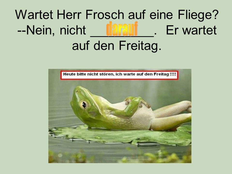 Wartet Herr Frosch auf eine Fliege? --Nein, nicht _________. Er wartet auf den Freitag.