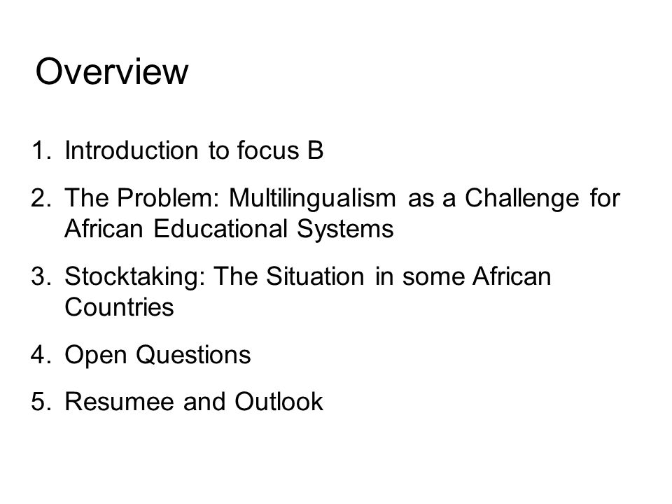 Overview 1.Introduction to focus B 2.The Problem: Multilingualism as a Challenge for African Educational Systems 3.Stocktaking: The Situation in some African Countries 4.Open Questions 5.Resumee and Outlook