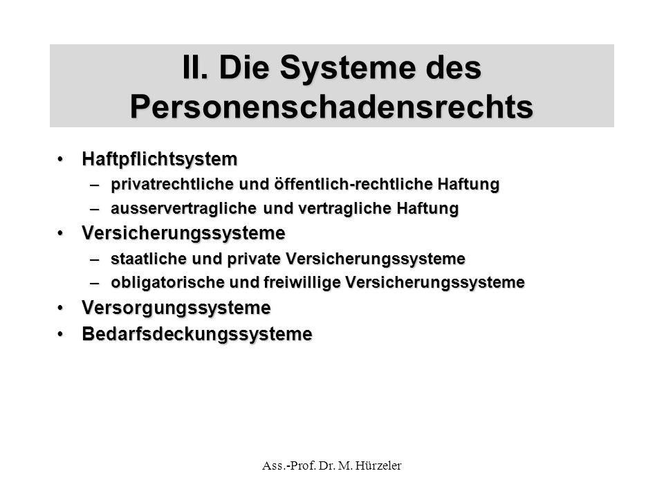 II. Die Systeme des Personenschadensrechts HaftpflichtsystemHaftpflichtsystem –privatrechtliche und öffentlich-rechtliche Haftung –ausservertragliche