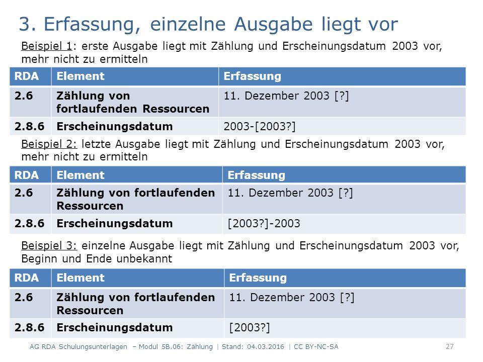3. Erfassung, einzelne Ausgabe liegt vor Beispiel 1: erste Ausgabe liegt mit Zählung und Erscheinungsdatum 2003 vor, mehr nicht zu ermitteln Beispiel