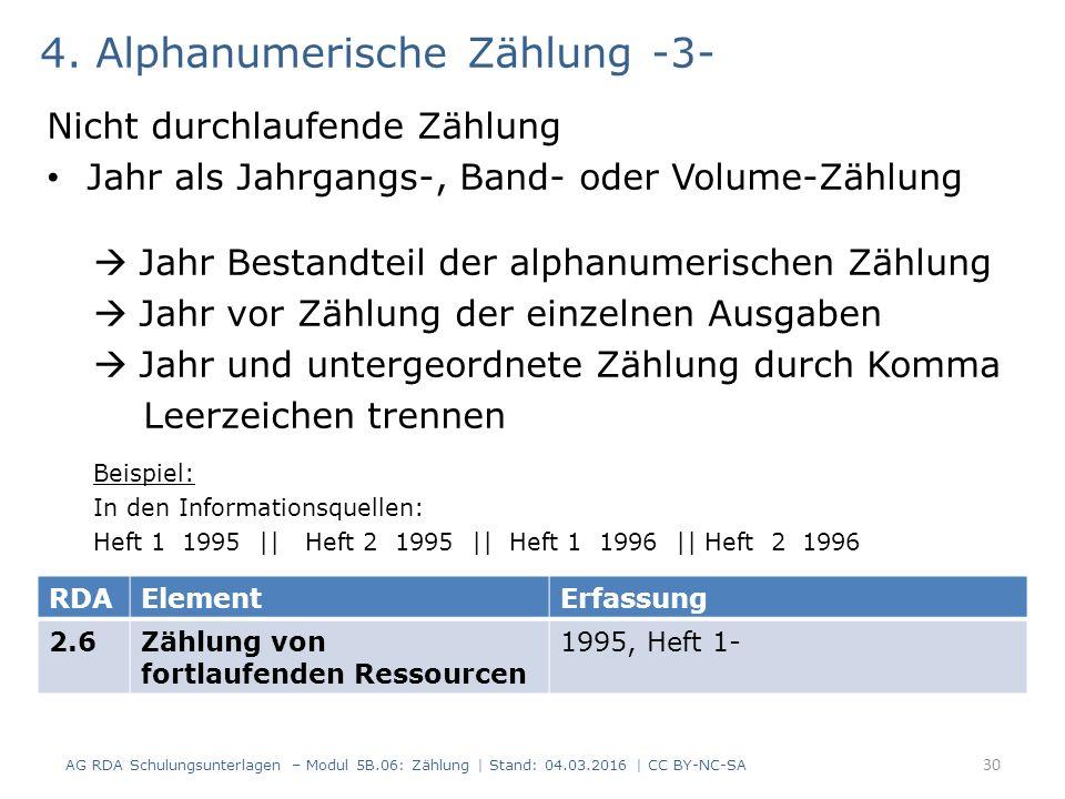 4. Alphanumerische Zählung -3- Nicht durchlaufende Zählung Jahr als Jahrgangs-, Band- oder Volume-Zählung  Jahr Bestandteil der alphanumerischen Zähl