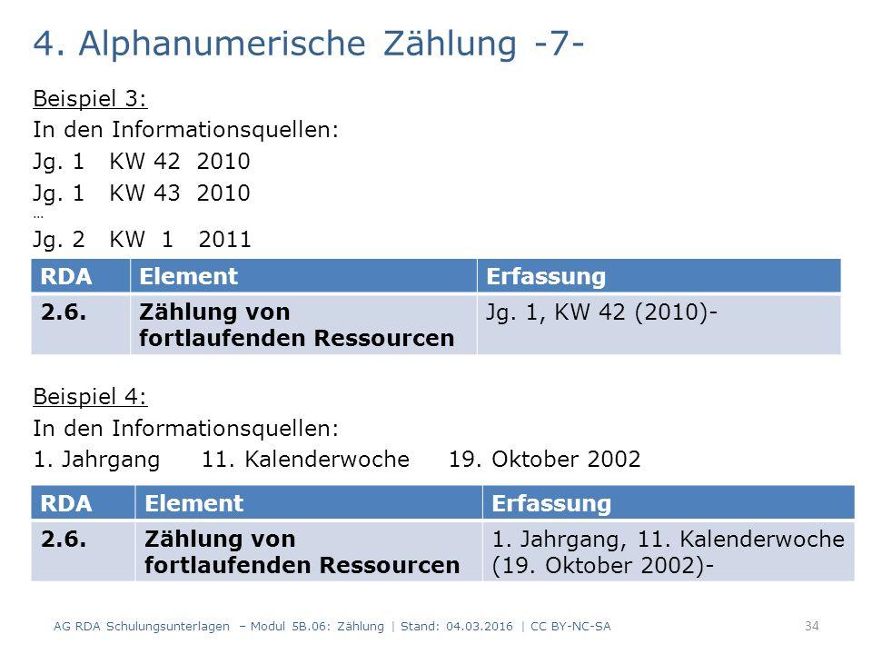 4. Alphanumerische Zählung -7- Beispiel 3: In den Informationsquellen: Jg.
