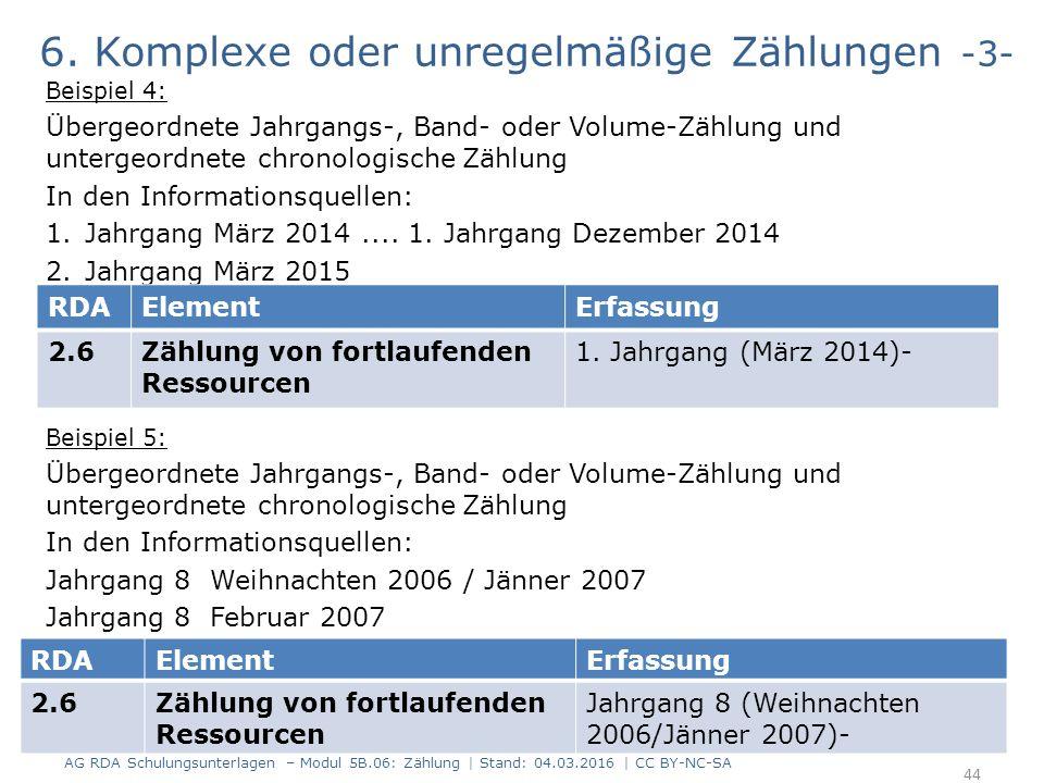 6. Komplexe oder unregelmäßige Zählungen -3- Beispiel 4: Übergeordnete Jahrgangs-, Band- oder Volume-Zählung und untergeordnete chronologische Zählung