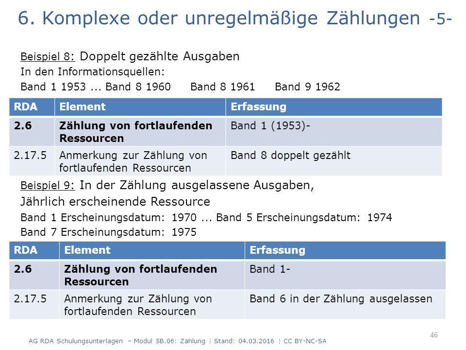 6. Komplexe oder unregelmäßige Zählungen -5- Beispiel 8 : Doppelt gezählte Ausgaben In den Informationsquellen: Band 1 1953... Band 8 1960 Band 8 1961