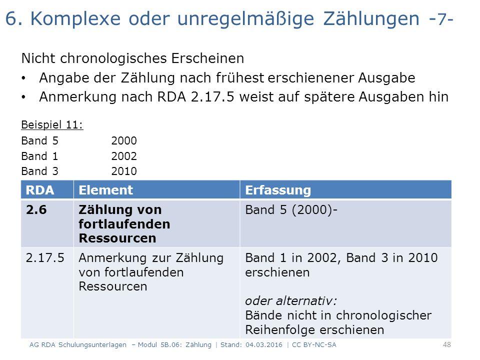 6. Komplexe oder unregelmäßige Zählungen - 7- Nicht chronologisches Erscheinen Angabe der Zählung nach frühest erschienener Ausgabe Anmerkung nach RDA