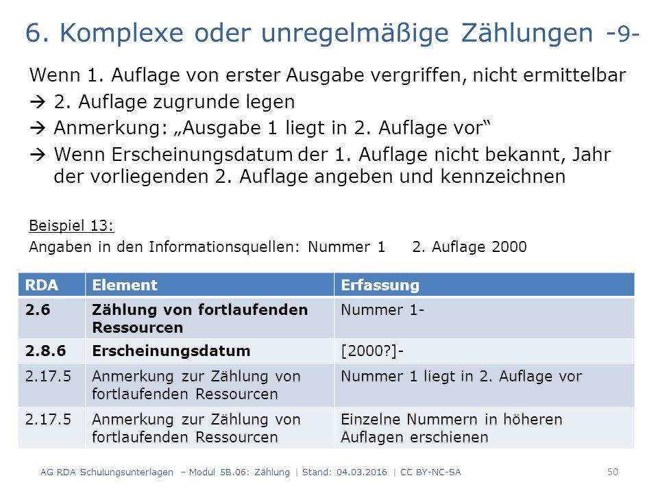 6. Komplexe oder unregelmäßige Zählungen - 9- Wenn 1.