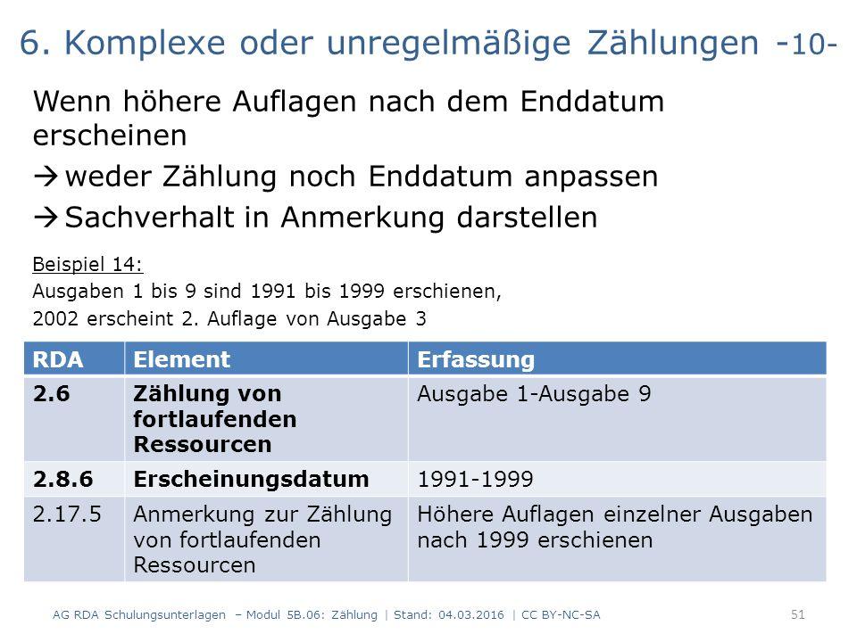 6. Komplexe oder unregelmäßige Zählungen - 10- Wenn höhere Auflagen nach dem Enddatum erscheinen  weder Zählung noch Enddatum anpassen  Sachverhalt