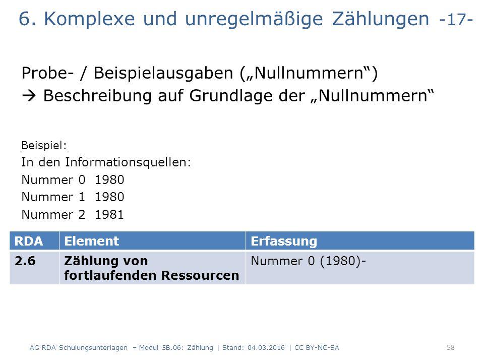 """6. Komplexe und unregelmäßige Zählungen -17- Probe- / Beispielausgaben (""""Nullnummern"""")  Beschreibung auf Grundlage der """"Nullnummern"""" Beispiel: In den"""