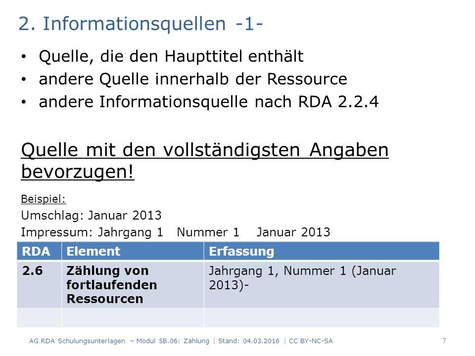 2. Informationsquellen -1- Quelle, die den Haupttitel enthält andere Quelle innerhalb der Ressource andere Informationsquelle nach RDA 2.2.4 Quelle mi