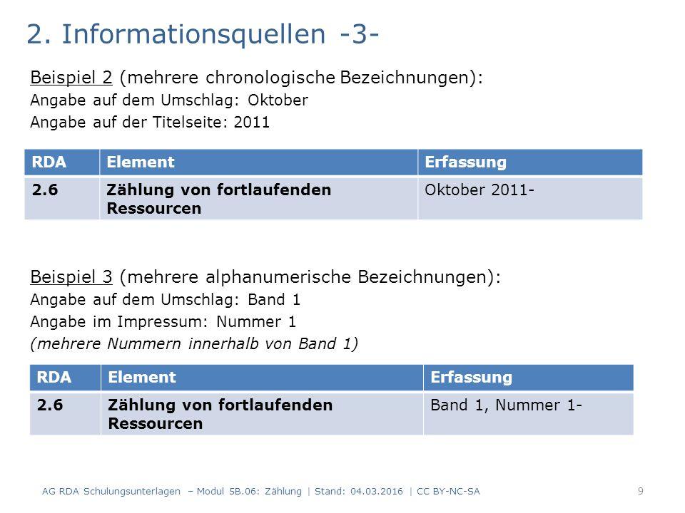 2. Informationsquellen -3- Beispiel 2 (mehrere chronologische Bezeichnungen): Angabe auf dem Umschlag: Oktober Angabe auf der Titelseite: 2011 Beispie