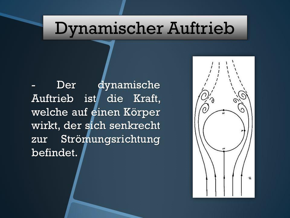 Dynamischer Auftrieb - Der dynamische Auftrieb ist die Kraft, welche auf einen Körper wirkt, der sich senkrecht zur Strömungsrichtung befindet.