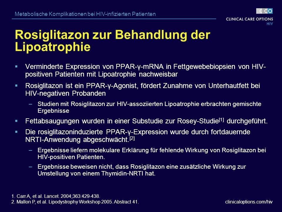 clinicaloptions.com/hiv Metabolische Komplikationen bei HIV-infizierten Patienten Rosiglitazon zur Behandlung der Lipoatrophie 1.