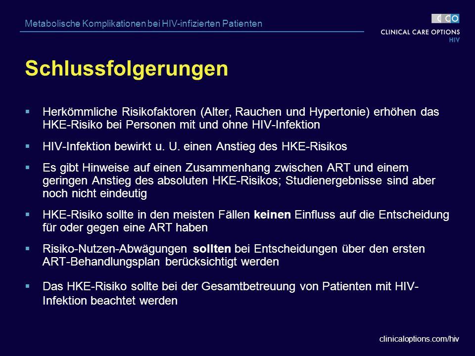 clinicaloptions.com/hiv Metabolische Komplikationen bei HIV-infizierten Patienten Schlussfolgerungen  Herkömmliche Risikofaktoren (Alter, Rauchen und Hypertonie) erhöhen das HKE-Risiko bei Personen mit und ohne HIV-Infektion  HIV-Infektion bewirkt u.