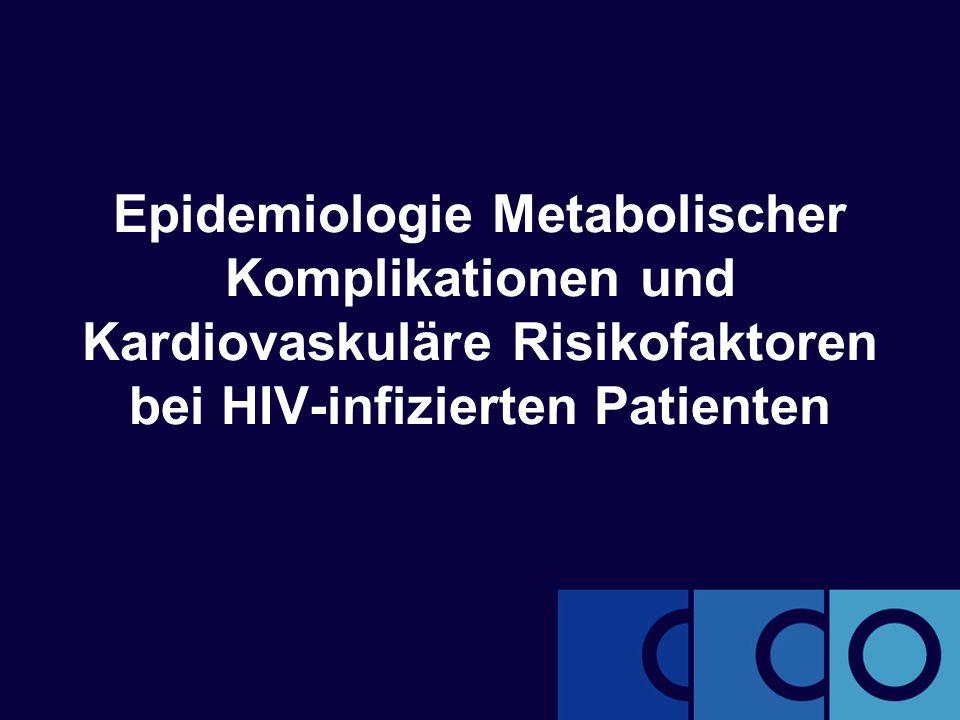 clinicaloptions.com/hiv Metabolische Komplikationen bei HIV-infizierten Patienten Zusammenhang zwischen Dyslipidämie und ART-Behandlung: D:A:D- Ausgangsdaten  Stabile Spiegel nach 3- bis 6-monatiger antiretroviraler Therapie  ↑ TC auch mit höherer CD4+-Zellzahl, geringerer Viruslast, Lipodystrophie, längerer NNRTI- und PI-Behandlung sowie höherem Alter assoziiert Patienten mit anomalen Lipiden zu Studienbeginn, in % Lipidspiegel, mmol/l (mg/dl) TC > 6,2 (> 240) HDL-C < 0,9 (< 35) TG > 2,3 (> 200) ART-naiv7,725,515,2 Nur NRTI9,824,822,7 NRTI + PI27,027,140,0 NRTI + NNRTI22,819,131,8 NRTI + PI + NNRTI44,123,854,3 Friis-Moller N, et al.