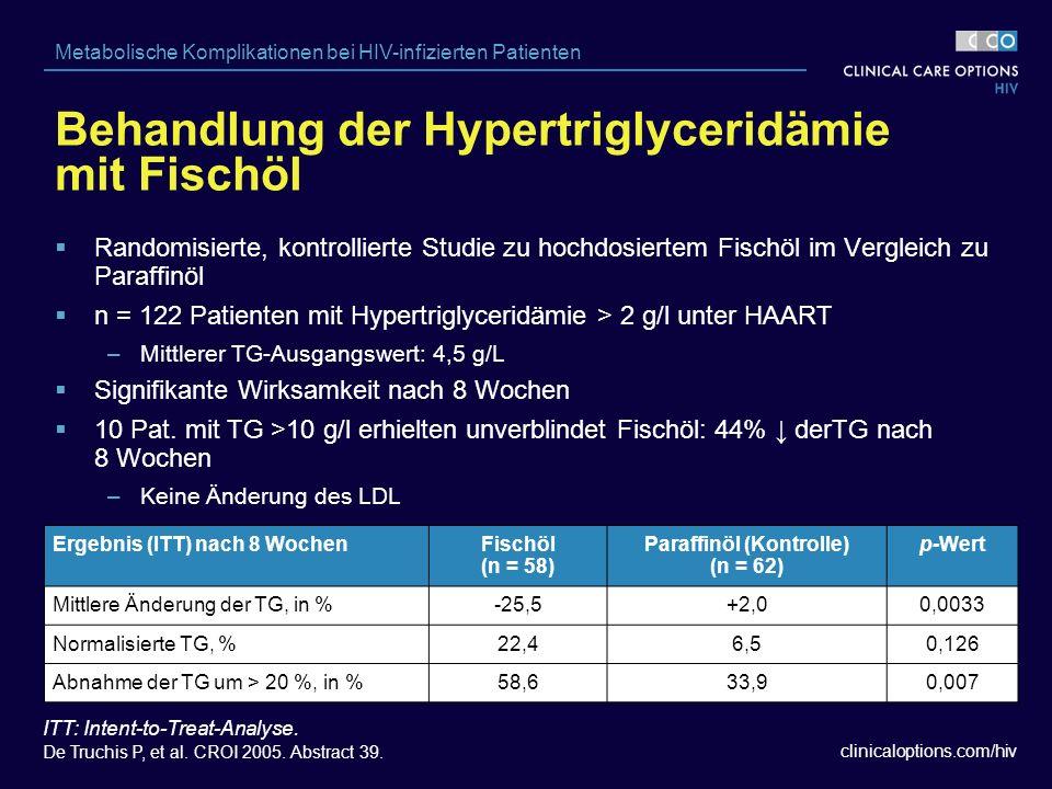 clinicaloptions.com/hiv Metabolische Komplikationen bei HIV-infizierten Patienten Behandlung der Hypertriglyceridämie mit Fischöl Ergebnis (ITT) nach 8 WochenFischöl (n = 58) Paraffinöl (Kontrolle) (n = 62) p-Wert Mittlere Änderung der TG, in %-25,5+2,00,0033 Normalisierte TG, %22,46,50,126 Abnahme der TG um > 20 %, in %58,633,90,007 ITT: Intent-to-Treat-Analyse.