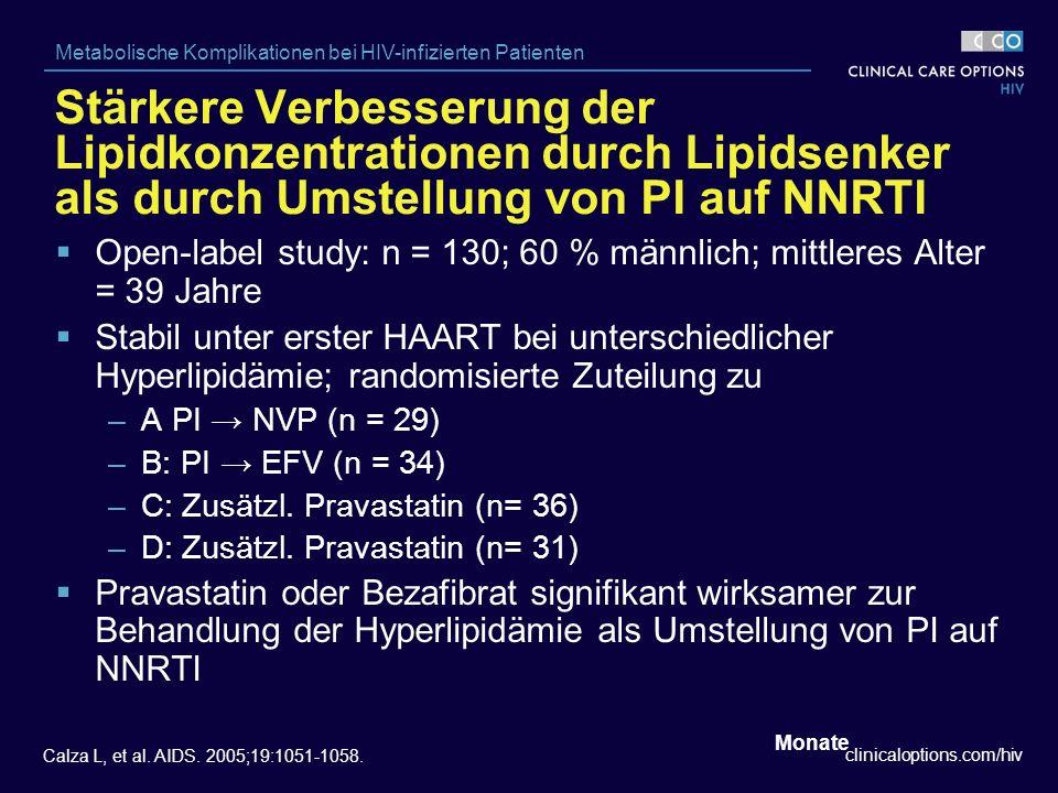 clinicaloptions.com/hiv Metabolische Komplikationen bei HIV-infizierten Patienten Stärkere Verbesserung der Lipidkonzentrationen durch Lipidsenker als durch Umstellung von PI auf NNRTI Calza L, et al.