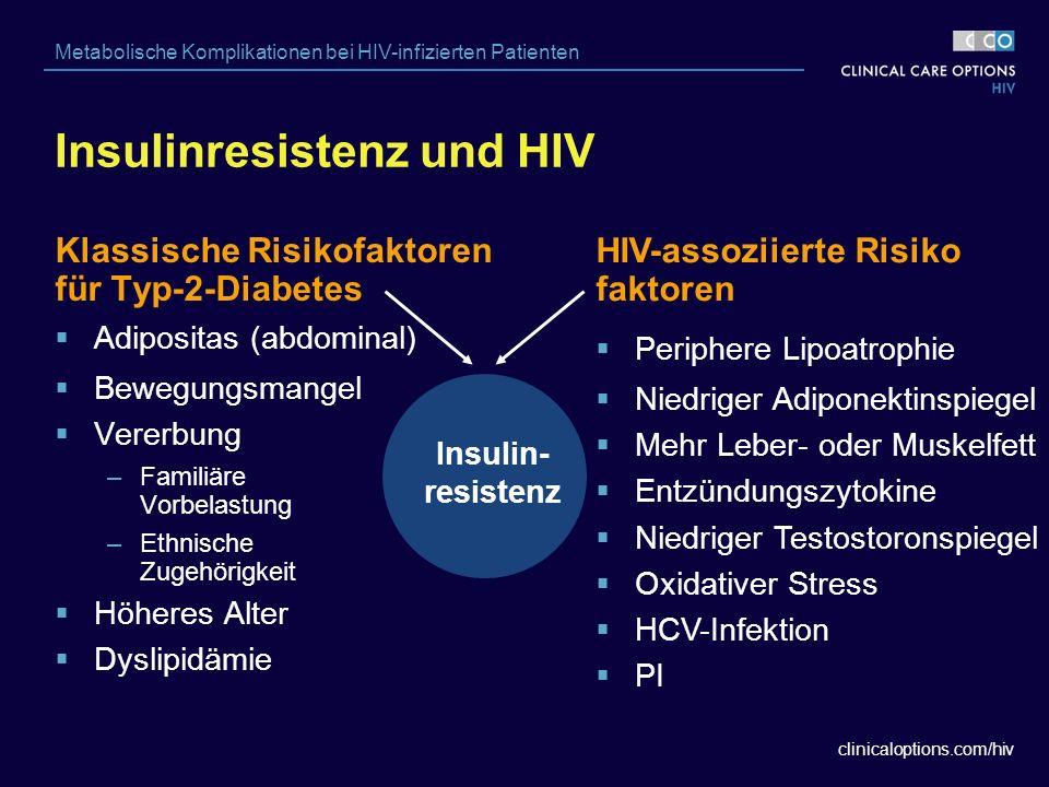 clinicaloptions.com/hiv Metabolische Komplikationen bei HIV-infizierten Patienten  Periphere Lipoatrophie  Niedriger Adiponektinspiegel  Mehr Leber- oder Muskelfett  Entzündungszytokine  Niedriger Testostoronspiegel  Oxidativer Stress  HCV-Infektion  PI Insulinresistenz und HIV Insulin- resistenz Klassische Risikofaktoren für Typ-2-Diabetes  Adipositas (abdominal)  Bewegungsmangel  Vererbung –Familiäre Vorbelastung –Ethnische Zugehörigkeit  Höheres Alter  Dyslipidämie HIV-assoziierte Risiko faktoren