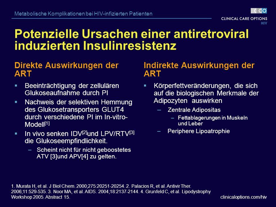 clinicaloptions.com/hiv Metabolische Komplikationen bei HIV-infizierten Patienten Direkte Auswirkungen der ART  Körperfettveränderungen, die sich auf die biologischen Merkmale der Adipozyten auswirken – Zentrale Adipositas –Fettablagerungen in Muskeln und Leber – Periphere Lipoatrophie Indirekte Auswirkungen der ART  Beeinträchtigung der zellulären Glukoseaufnahme durch PI  Nachweis der selektiven Hemmung des Glukosetransporters GLUT4 durch verschiedene PI im In-vitro- Modell [1]  In vivo senken IDV [2] und LPV/RTV [3] die Glukoseempfindlichkeit.