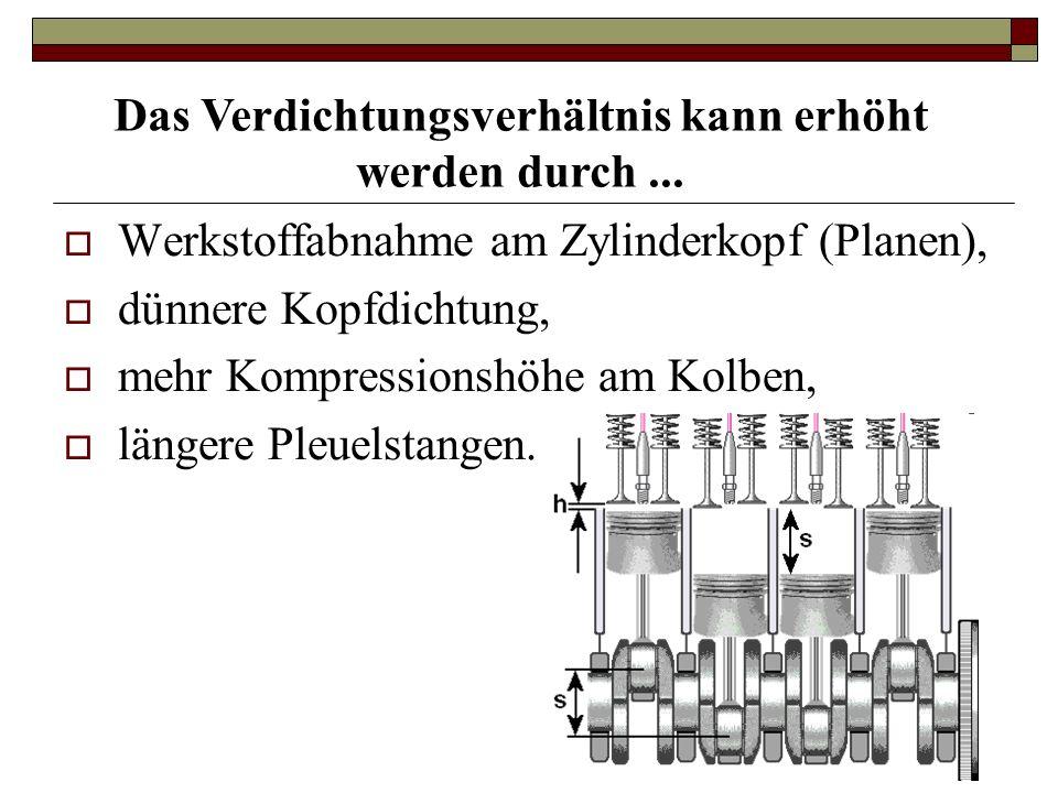  Werkstoffabnahme am Zylinderkopf (Planen),  dünnere Kopfdichtung,  mehr Kompressionshöhe am Kolben,  längere Pleuelstangen.