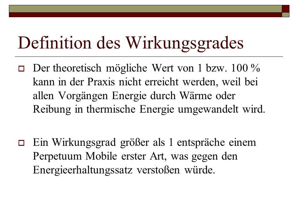 Definition des Wirkungsgrades  Der theoretisch mögliche Wert von 1 bzw.