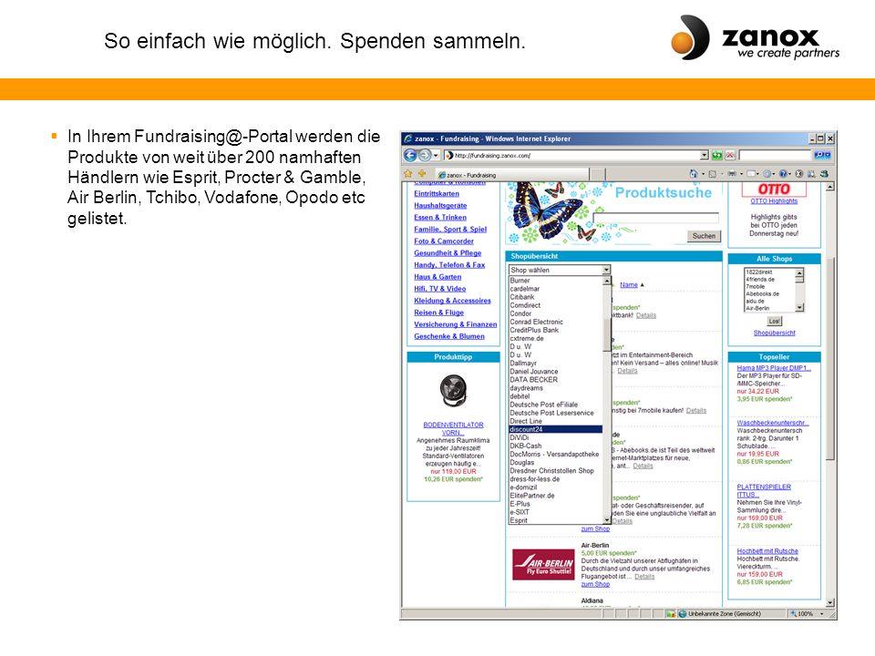"""So einfach wie möglich. Spenden sammeln. """"Shoppen für einen guten Zweck mit zanox-Fundraising@"""