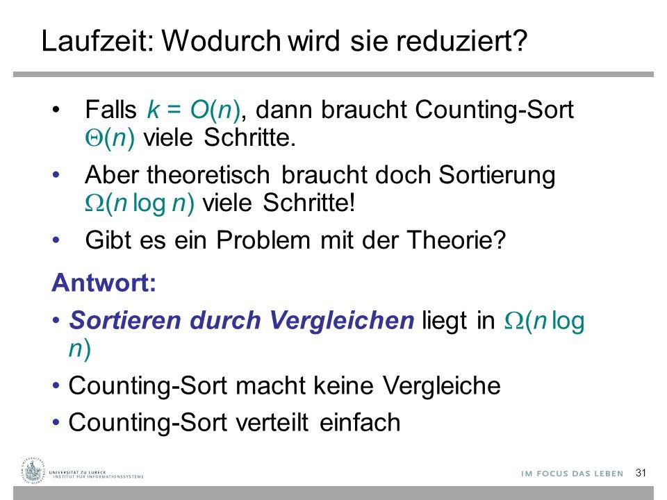 Laufzeit: Wodurch wird sie reduziert? Falls k = O(n), dann braucht Counting-Sort  (n) viele Schritte. Aber theoretisch braucht doch Sortierung  (n l