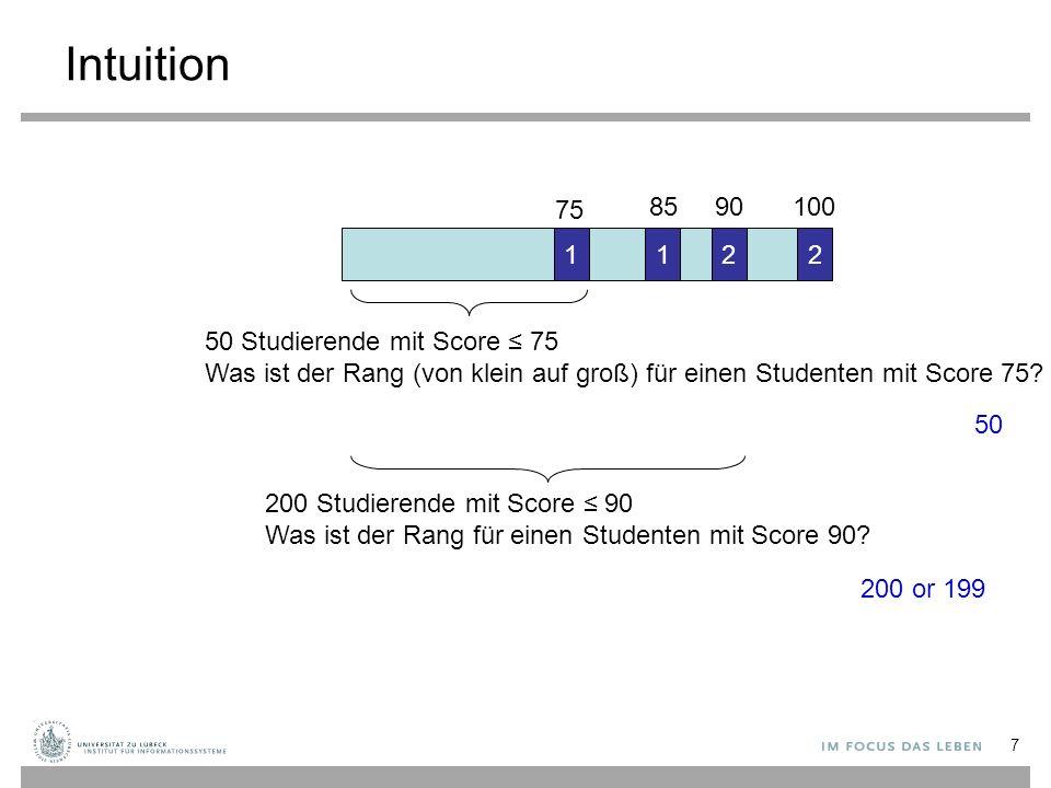 Intuition 2211 75 8590100 50 Studierende mit Score ≤ 75 Was ist der Rang (von klein auf groß) für einen Studenten mit Score 75? 200 Studierende mit Sc