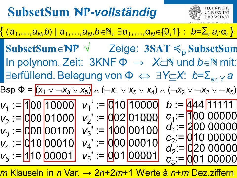 Martin Ziegler 2 Komplexitätstheorie A NP -vollständig, B 2 NP und A ≼ p B.