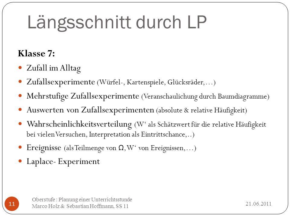 Längsschnitt durch LP 21.06.2011 Oberstufe : Planung einer Unterrichtsstunde Marco Holz & Sebastian Hoffmann, SS 11 11 Klasse 7: Zufall im Alltag Zufa